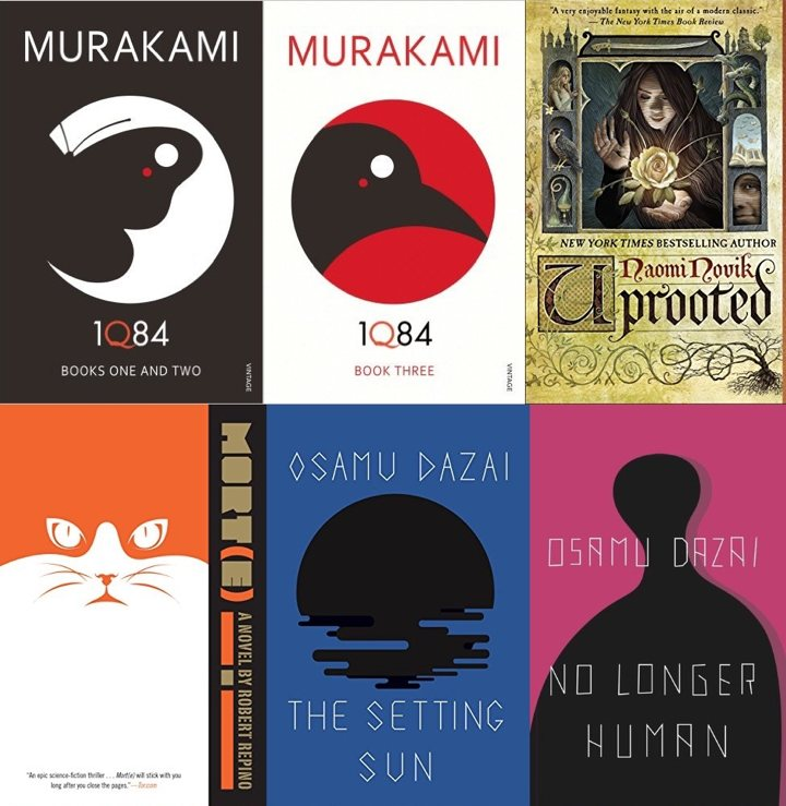 Collage of book covers pt 1 (1Q84, Uprooted, Morte, The Setting Sun, No Longer Human)